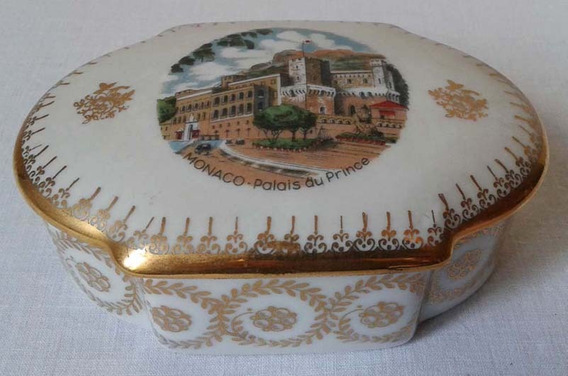 Antigua Caja Porcelana Limoges France Palacio De Monaco