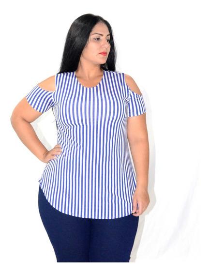 Blusa Feminina Decotada No Ombro Camisa Plus Size Estampada