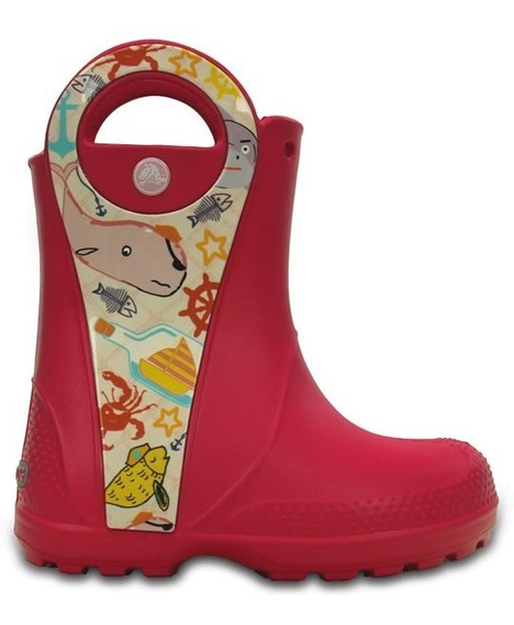 Bota De Lluvia Infantil Crocs Handle It Sea Life Rosa