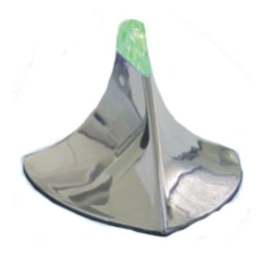 Antena Tubarão Cromada Iluminada Autocolante - Led Verde