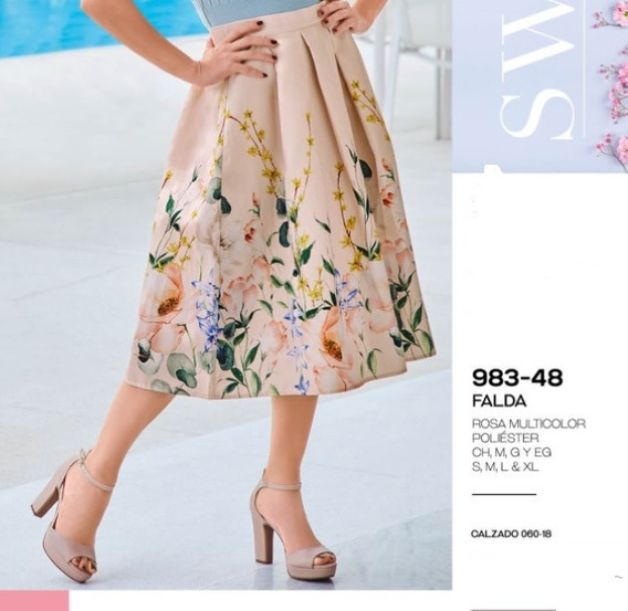 Falda Casual Dama Rosa Multicolor 983-48 Cklass 1-20 J