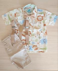 Roupa Festa Infantil Camisa Temática Safari Menino 1 À 3anos