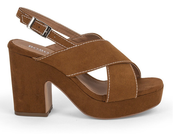 Sandalias Zapatos Tacon Grueso Cruzados Café Costuras 9109