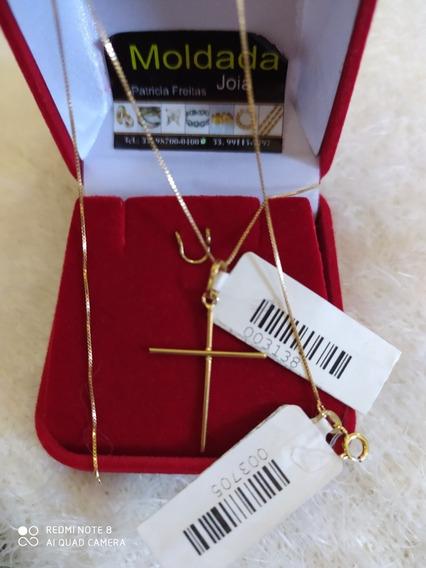Cordão Feminino Com Pingente De Cruz Em Ouro 18 45 Cm .