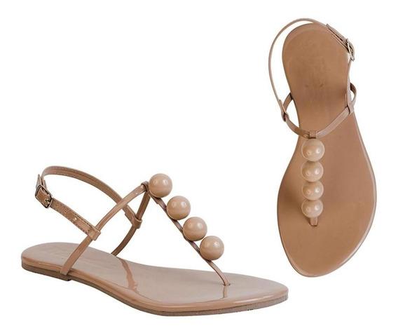 Sandália Rasteira Flat Bolinhas Confortável Dia A Dia Casual