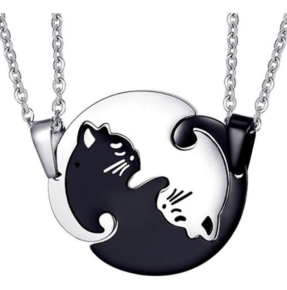 Collar Yin Yang Gato Amor Novios Pareja Dualidad Unión Acero