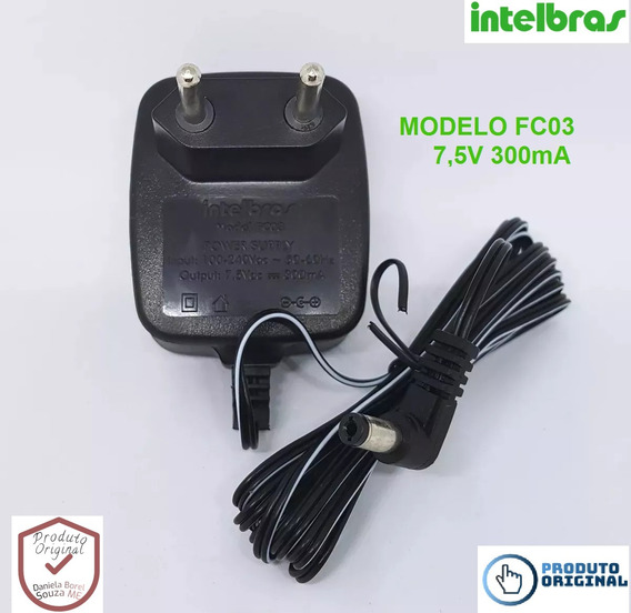 Fonte Intelbras 7.5v 300ma Telefone Chaveada Fc03