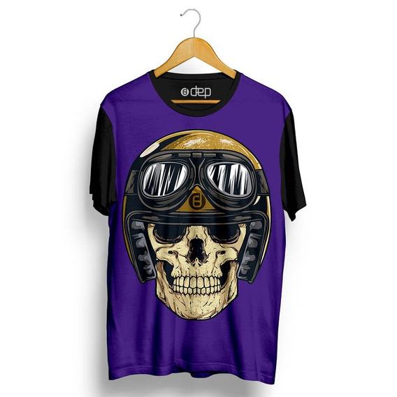 Camiseta Dep Caveira Capacete Aberto Óculos Roxo