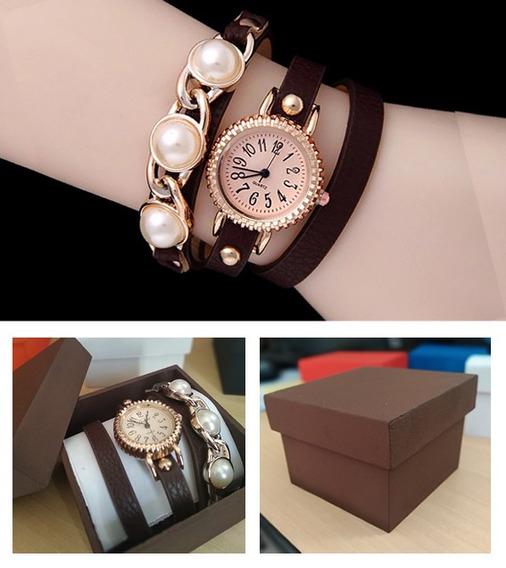 Pulseira Elegant Marrom Com Relógio Quartz + Caixinha Mdf