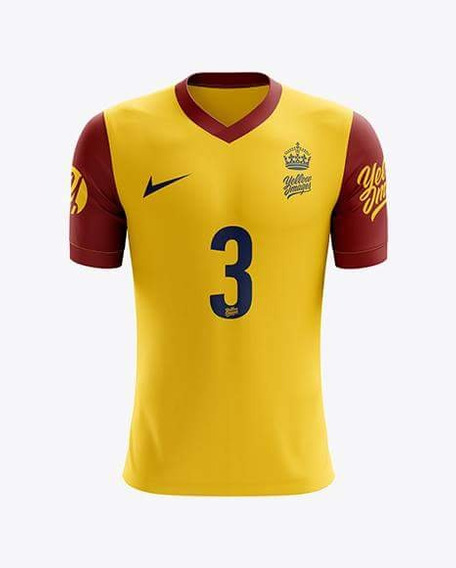 Mockup Camisa Gola V Yellow Images