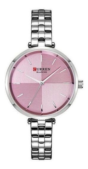Relógio Curren Feminino De Pulso Mod C9043l - Prata E Rosa