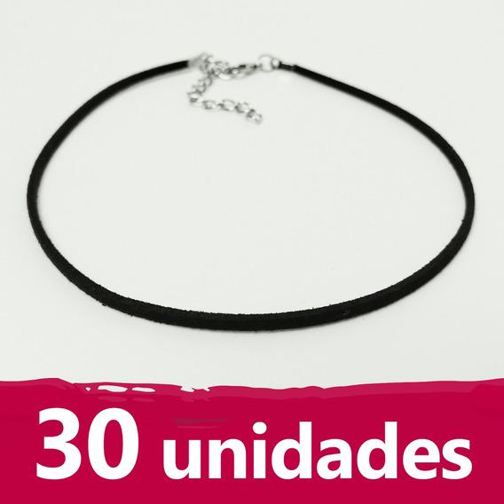 Pack 30 Unidades Choker Courinho Camurça Preto Fino Delicado