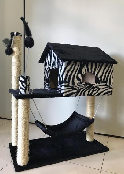 Arranhador Casa Com Rede Grande Zebra