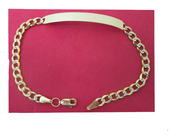 Esclava Barbada Diamantada Oro Sólido 10 Kilates 22 Cm.