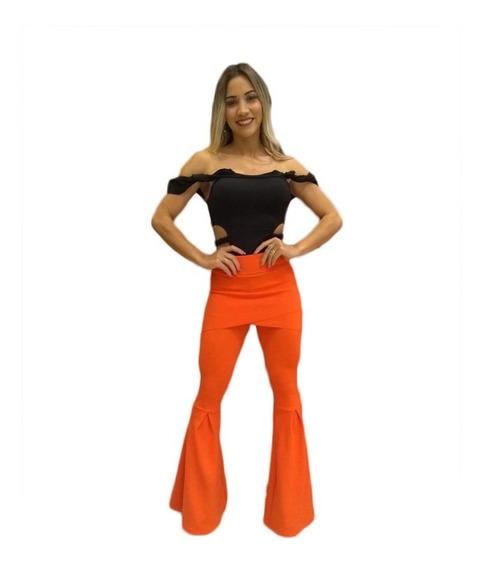 Calça Crepe Com Saia Super Flare Maxi Flare Blogueira Juju Moda Casual Lançamento Novas Cores Veste Super Bem Tecido Mar