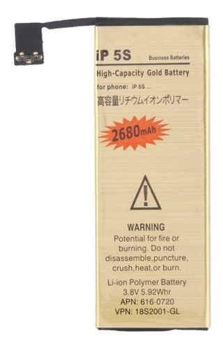 Batería Larga Duración Para iPhone 5s  De 2680mah+obsequio
