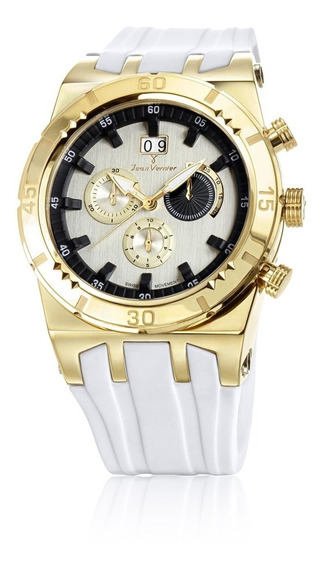 Relógio Pulso Jean Vernier Masculino Aço Cronógrafo Jv01232b
