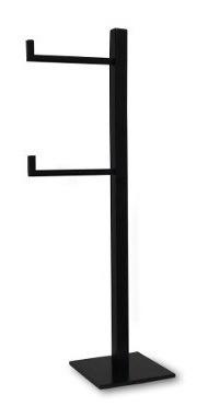 Papeleira Quadrada De Chão Preta C/ Reserva Inox 304