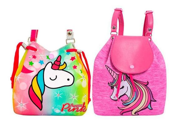 Bolsas Infantis Princesa Pink Kit 2 Bolsas Unicórnio - Tamanho Único