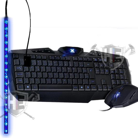 Kit Teclado E Mouse Led Striker Pc Gamer + Brinde Fita Led