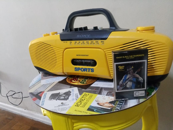Rádio Sony Sports Amarelo Raro K7 Tape Deck Vintage