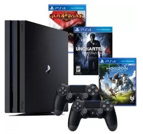 Playstation 4 Pro Sony 1tb Ps4 4k + 2 Controles + 3 Jogos