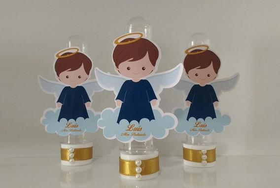 Tubete Com Aplique De Anjo - Batizado - 10 Unidades