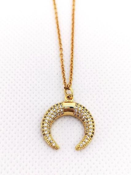 Collar Luna Acero Inoxidable Baño De Oro Zirconia