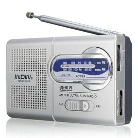 Rádio Receptor Portátil Indin Bc-r119 Am/fm Cor Prata