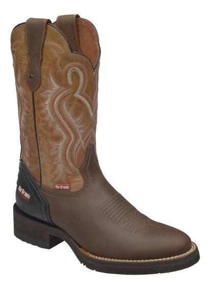 Botas Vaqueras De Rodeo Para Hombre Punta Oval 1696- Bell Suela Dallas Flexible Y Confortable De Rio Grande