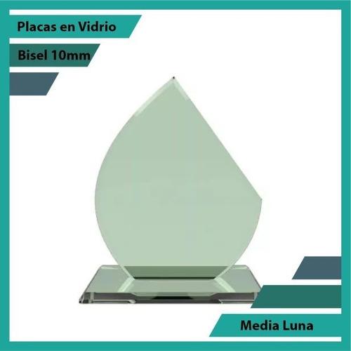 Placas Conmemorativas En Vidrio Media Luna Plano