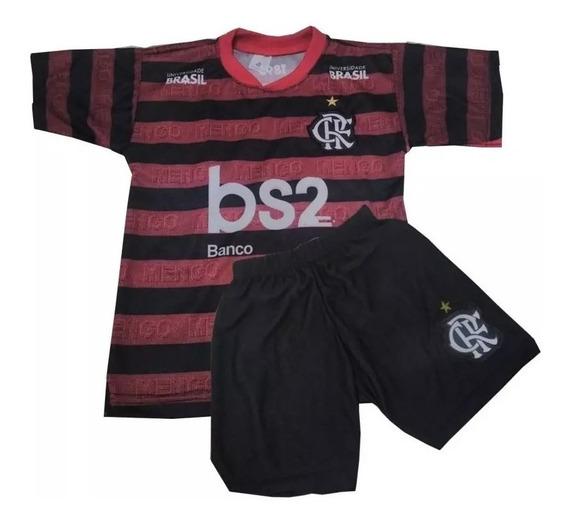 Conjunto Infantil Do Flamengo Uniforme Camisa E Shorts