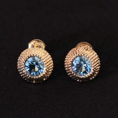 Brinco Semi Jóia Folheado A Ouro Com Pedras De Zircônia Azul
