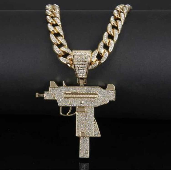 Corrente Cravejada Arma Uzi Iced Out