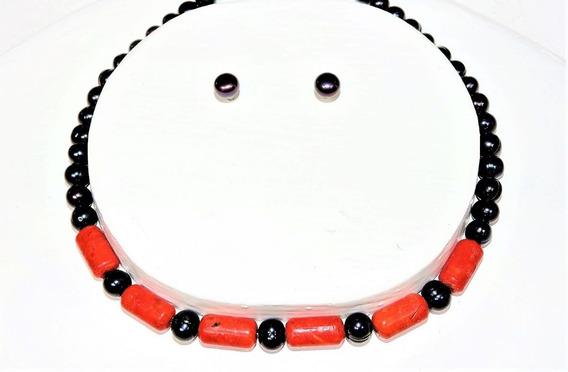 Collar Perla Color Negro 7-8 Mm Redondo 42 Cm