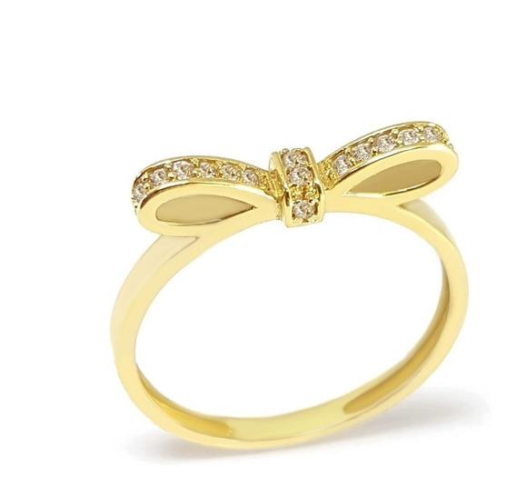 Anel Ouro 18k 750 Joia Laço Com Diamantes Frete Grátis