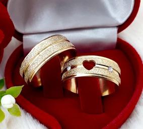 Par Aliança Namoro Coração Vazado Noivado Cx Veludo M550