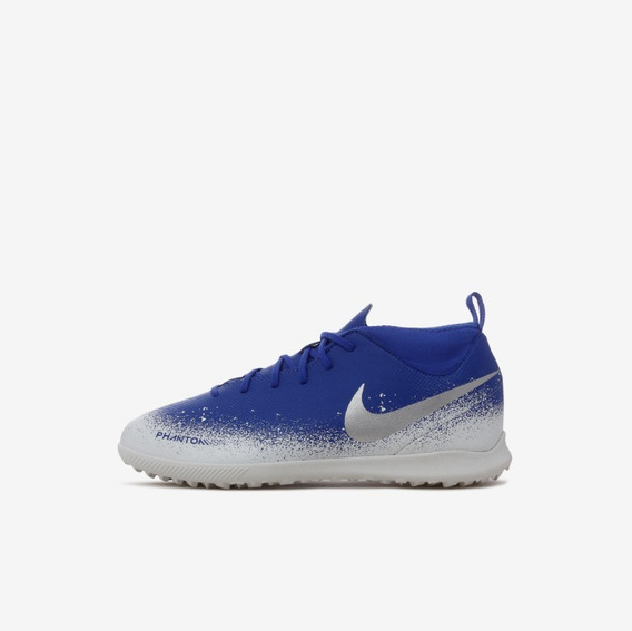 Chuteira Nike Jr Phantom Vision Club Df Tf Azul + Nf