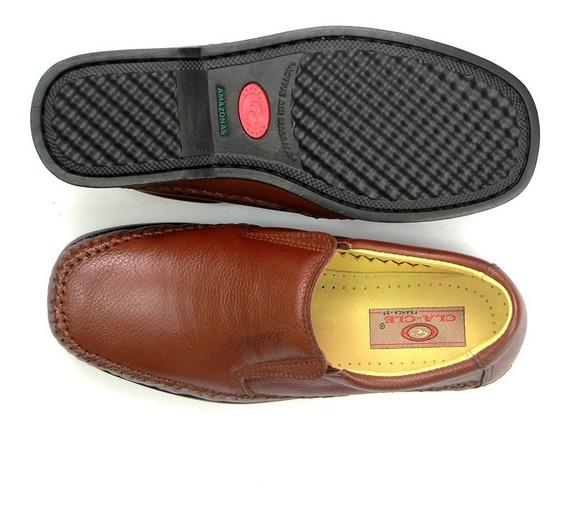 Sapato Anti Stress Masculino Ortopédico Couro Pés Diabéticos