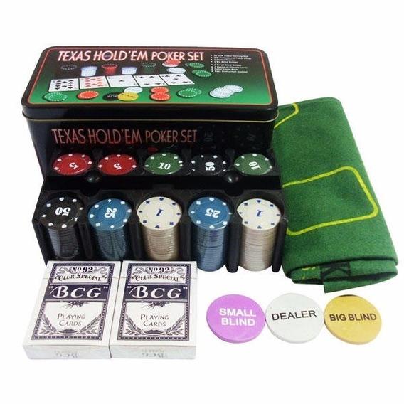 Conjunto Poker Suporte Com 200 Fichas Tapete Baralho Texas H