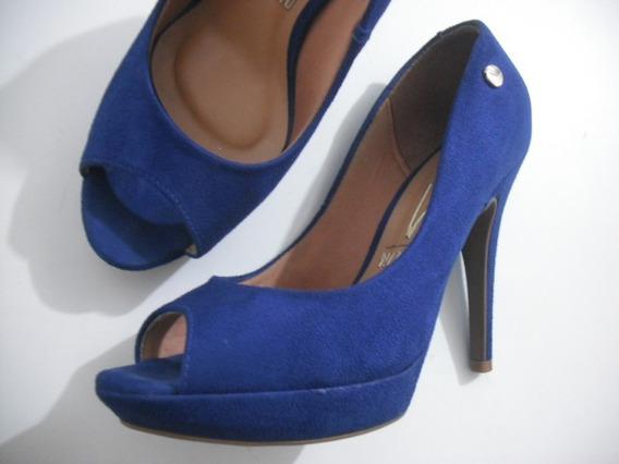 Peep Toe Vizzano Azul Camurça Tam 36 Usado Bom Estado