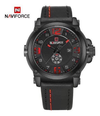 Relógio Naviforce Masculino Militar Pulseira De Couro