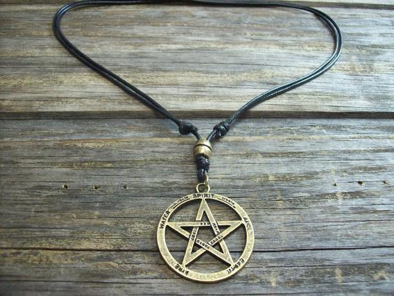 Colar Cordão Vintage Pentagrama Wicca Regulável Unissex