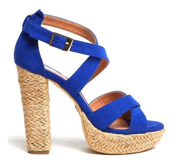 Zapatillas Plataformas Azules Sexys Sandalias Altas Moda Lob