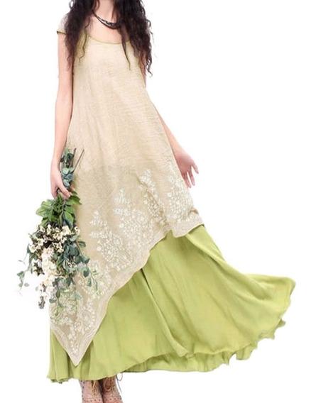 Vestido Largo C/bordado De Flores Holgado Cuello Redondo 3xl