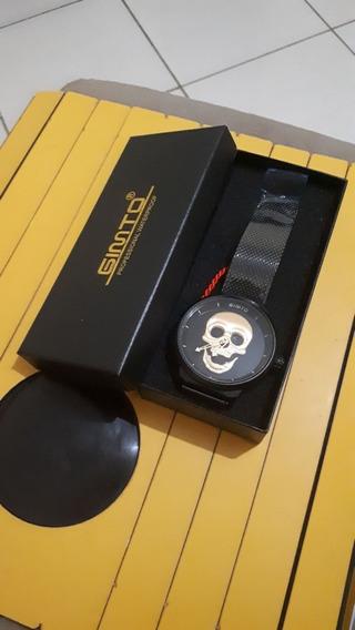 Relógio Gimto Caveira 3d Preto Original