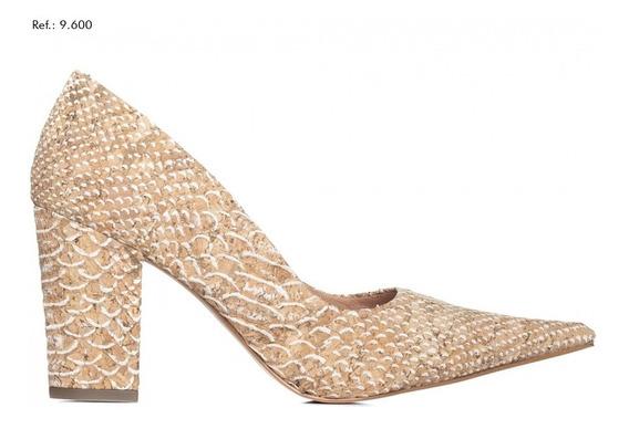 Sapato Feminino Scarpin Torricella Croco Bege