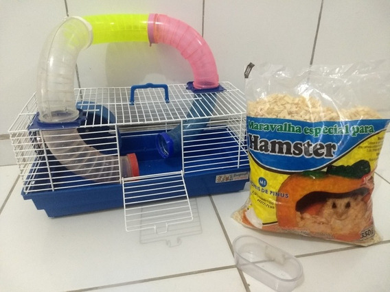 Gaiola Para Hamster + Comedouro + Pó De Serra