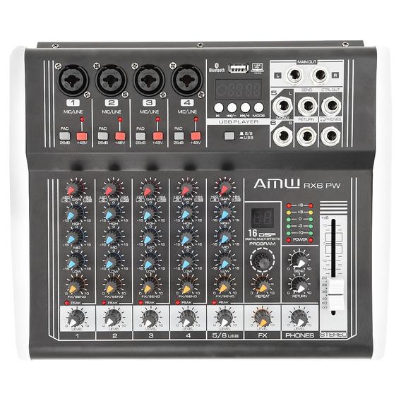 Amw Custom Rx6 P Mesa De Som Amplificada 6 Canais 4 Xlr 220v