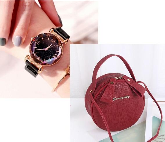 Relógio Céu Estrelado + Bolsa Feminina